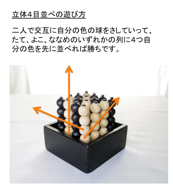 立体4目並べ/ボールソリティア・昭島ひまわりの家 4mokusetsumei