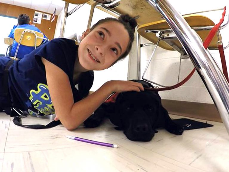 犬と一緒に登校する発達障害の中学生